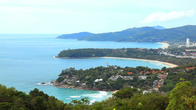 Aerial view of tropical Kata Beach andaman sea Phulet Thailand