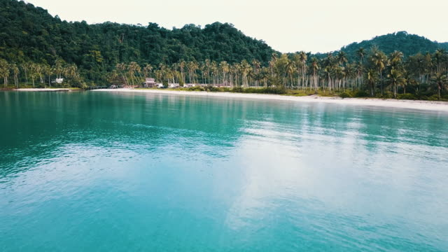 aerial view of tropical white sand beach. koh kood. thailand. - trat province stock videos and b-roll footage