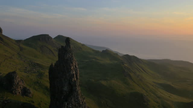 aerial view of trotternish ridge near old man - hill点の映像素材/bロール