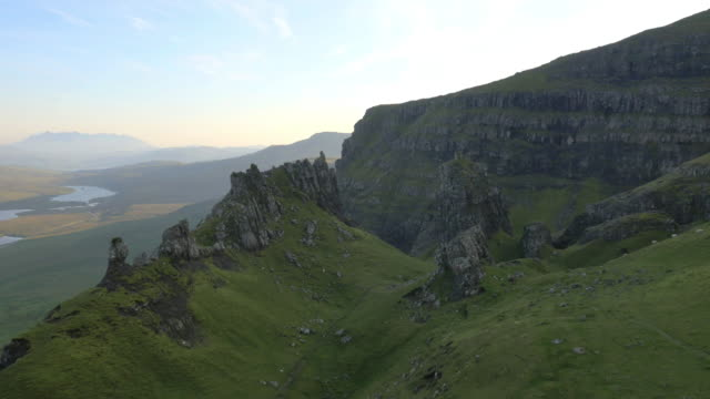 aerial view of trotternish ridge old man scotland - scottish highlands stock videos and b-roll footage