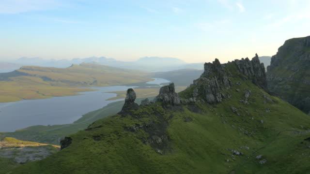 aerial view of trotternish ridge old man skye - hebriderna bildbanksvideor och videomaterial från bakom kulisserna