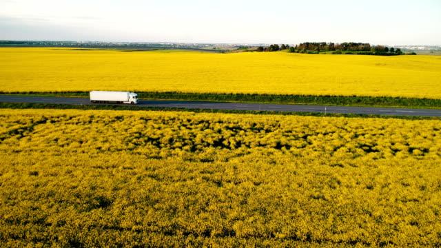 Luftaufnahme von LKW auf der Autobahn in der Nähe von dem gelben Feld von Raps