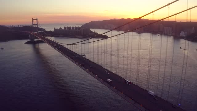 aerial view of tsing ma bridge. highways in hong kong with structure of suspension architecture - hong kong international airport stock videos & royalty-free footage