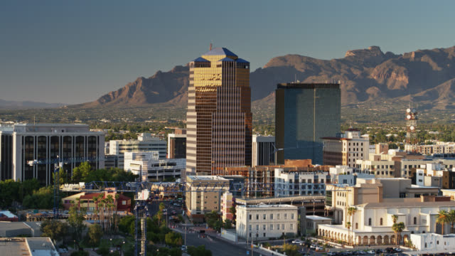 aerial view of tucson at dusk - arizona stock videos & royalty-free footage