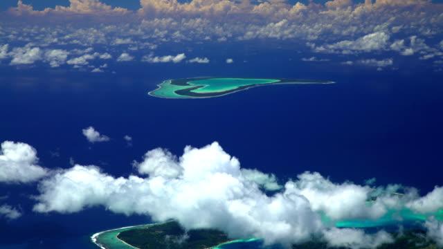 aerial view of tupai and bora bora island - polynesian ethnicity stock videos & royalty-free footage