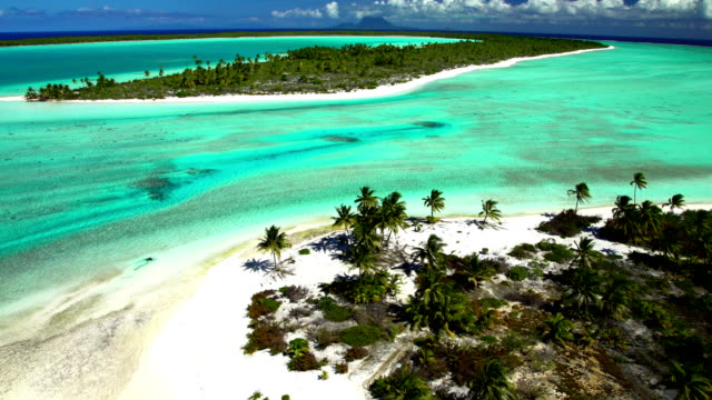 aerial view of tupai and bora bora island - bora bora aerial stock videos and b-roll footage