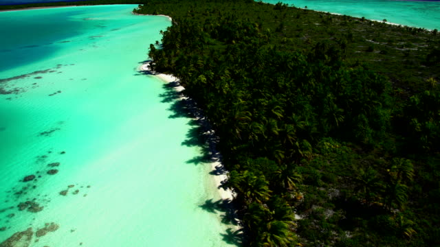 Aerial view of Tupai Heart Island coral reef