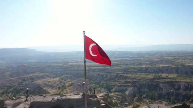 aerial view of turkish flag on cappadocia, turkey - rock hoodoo stock videos & royalty-free footage