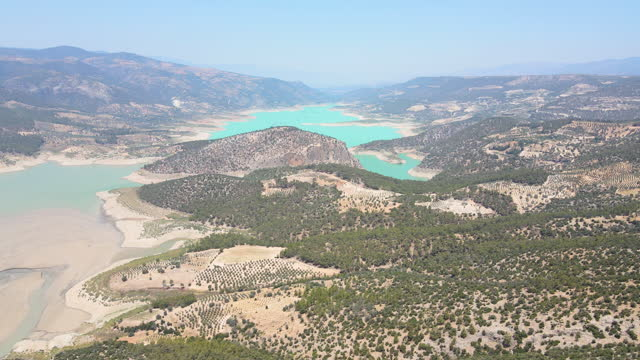 aerial view of turquoise lake of canyon, turquoise dam, wet canyon, aerial view of turquoise colored lake, aerial view of hydroelectric power station, hydroelectric power plant - 1958 stock videos & royalty-free footage
