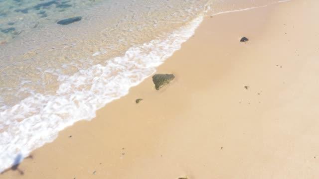 vídeos de stock, filmes e b-roll de vista aérea da onda oceânica turquesa que atinge o litoral - baía
