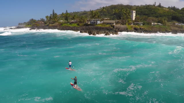 aerial view of two men sup stand-up paddleboard surfing in hawaii. - big island hawaii islands stock videos & royalty-free footage