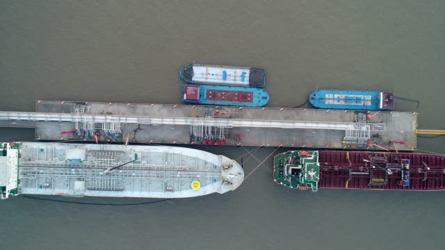 Aerial view of two oil tanker ship mooring at Taicang oil tank pier