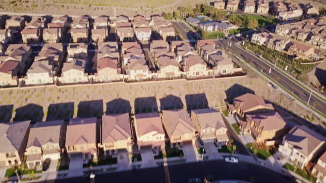 aerial view of typical southern california suburb - santa clarita video stock e b–roll