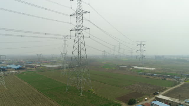 Aerial view of ultrahigh voltage power transmission tower on March 18 2017 in Hefei China