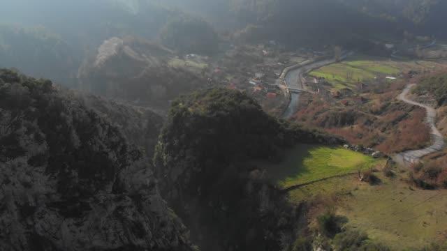 aerial view of ulukaya canyon and alicli village, ulus, bartin, turkey - rustic stock videos & royalty-free footage