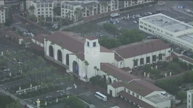 ktla aerial view of union station in downtown - union station los angeles stock videos & royalty-free footage