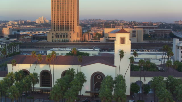 aerial view of union station, los angeles - union station los angeles stock videos & royalty-free footage