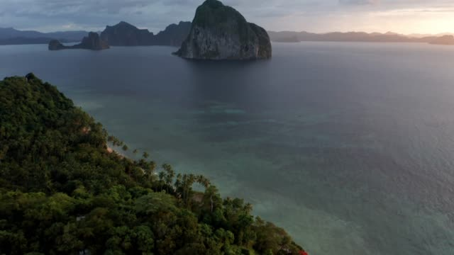 aerial view of unique beach in el nido palawan philippines  - drone 4k - land stock videos & royalty-free footage
