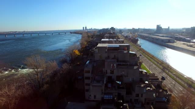 Aerial view of unique buildings in Montreal Habitat 67