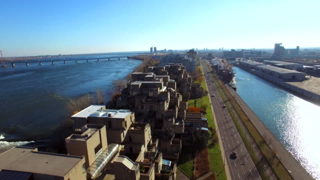 aerial view of unique buildings in montreal habitat 67 - montreal video stock e b–roll