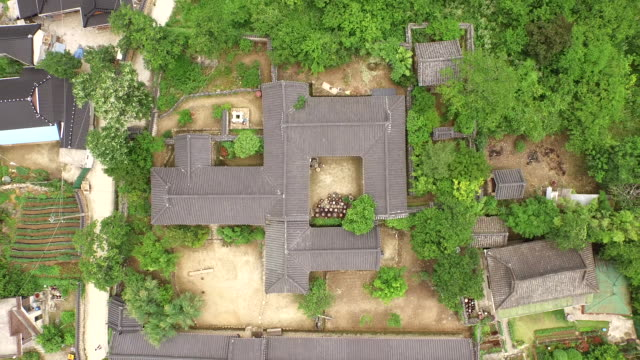 Aerial view of Unjoru pavilion and Korean traditional houses at Mt Chirisan