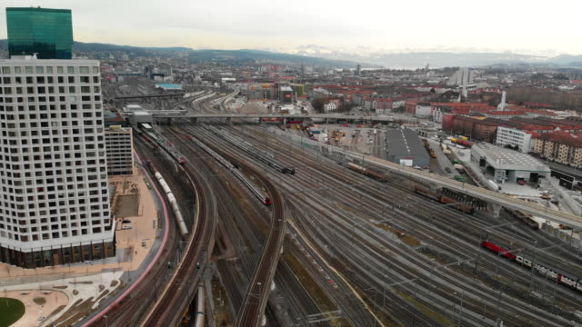 aerial view of uptown zurich and railway - complexity stock videos & royalty-free footage