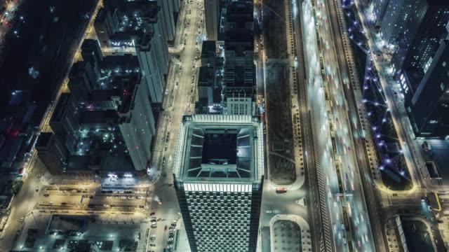 luftaufnahme der städtischen straßennacht - peking stock-videos und b-roll-filmmaterial