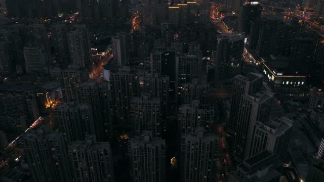 aerial view of urban road night - liyao xie stock videos & royalty-free footage