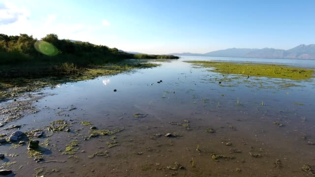 aerial view of utah lake in provo utah - provo stock videos & royalty-free footage