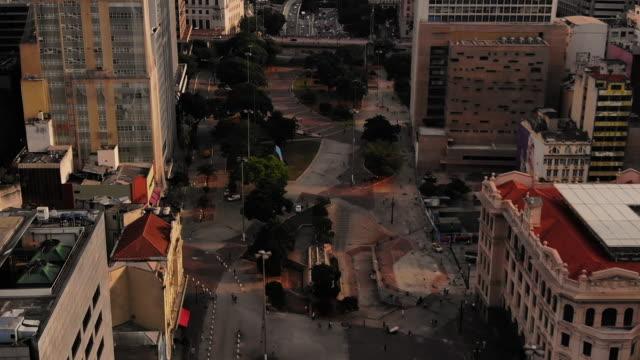 vídeos de stock, filmes e b-roll de vista aérea do vale do anhangabau, são paulo, brasil - facade