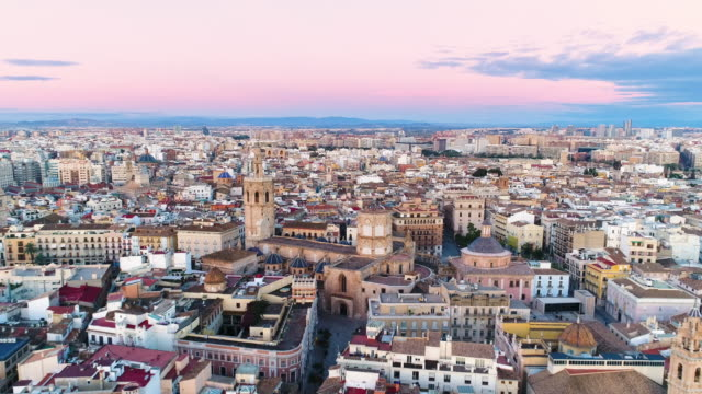 aerial view of valencia cathedral and plaza de la reina - mediterranean culture stock videos and b-roll footage
