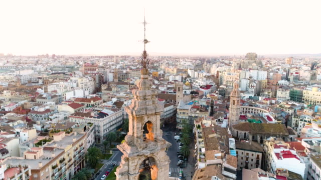aerial view of valencia cathedral and plaza de la reina - bell tower tower stock videos and b-roll footage