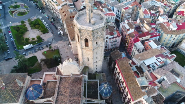 Aerial view of Valencia Cathedral and Plaza de la Reina