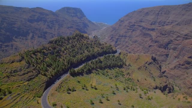 aerial view of valle gran rey on canary islands la gomera in the province of santa cruz de tenerife - spain - rolling landscape stock videos & royalty-free footage