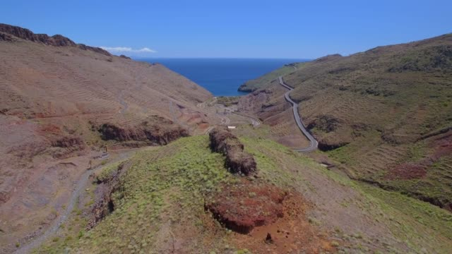 aerial view of valley by punta de avalo and playa de avalo on canary islands la gomera - cliff stock videos & royalty-free footage