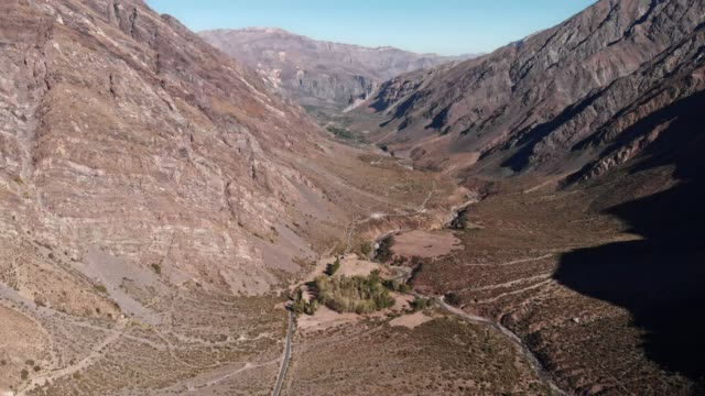 aerial view of valleys in cajon del maipo - valley stock videos & royalty-free footage