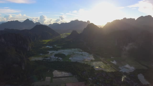 Aerial view of Vang Vieng, Laos