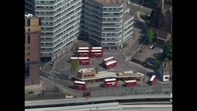 aerial view of various modes of transport in london during the coronavirus lockdown - tram stock videos & royalty-free footage