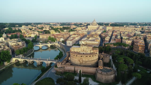 aerial view of vatican city, castel sant'angelo and tevere river. 4k - state of the vatican city stock videos & royalty-free footage