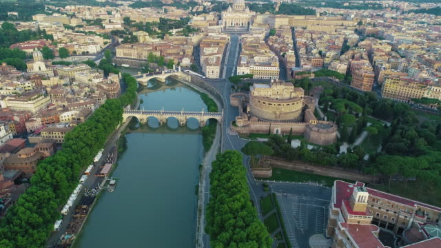 aerial view of vatican city, castel sant'angelo and tevere river. 4k - pilgrimage stock videos & royalty-free footage