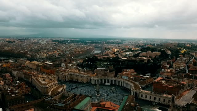 aerial view of vatican city - basilica video stock e b–roll