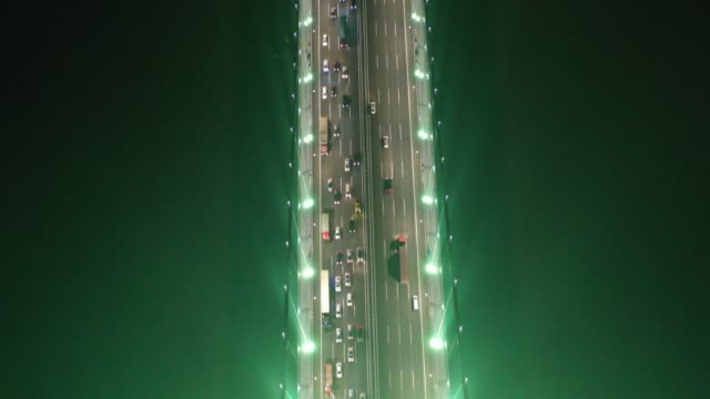 Aerial view of vehicles line up on the Nansha Bridge at the end of the Qingming Festival holiday on April 7 2019 in Dongguan Guangdong Province of...