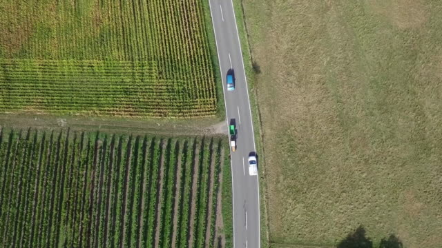 vidéos et rushes de aerial view of vehicles on road by agricultural field, alsace - route de campagne