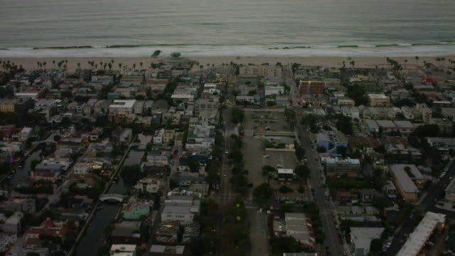 Aerial view of Venice in Los Angeles, CA sunset