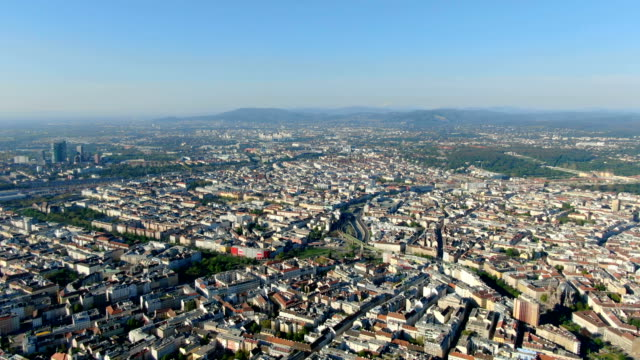 aerial view of vienna city center, high angle on sunny day - austria stock-videos und b-roll-filmmaterial
