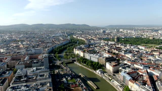 aerial view of vienna city center with donaukanal - austria stock videos & royalty-free footage