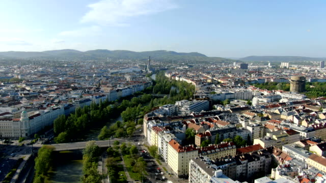 aerial view of vienna city center with donaukanal - austria stock videos & royalty-free footage