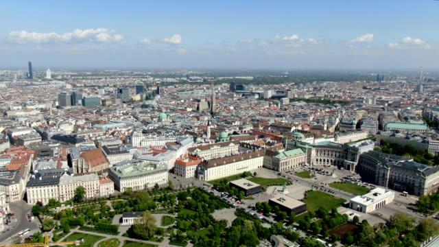 aerial view of vienna city center ,with heldenplatz, neue burg - vienna austria stock videos & royalty-free footage