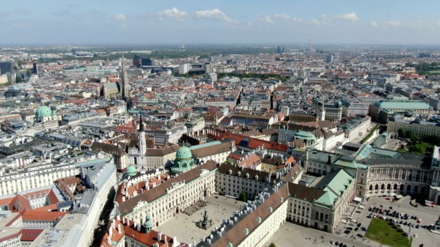 aerial view of vienna city center ,with the hofburg, st. stephen's cathedral - the hofburg complex stock videos & royalty-free footage