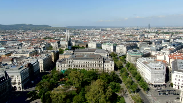 aerial view of vienna city center -with the university of vienna - vienna stock videos & royalty-free footage